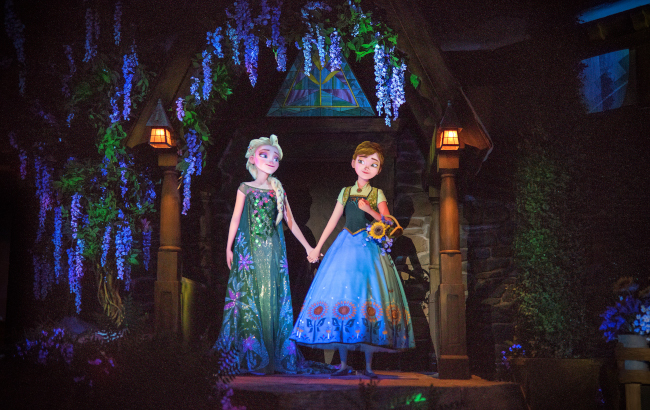 Elsa and Anna holding hands at EPCOT's Frozen Ever After