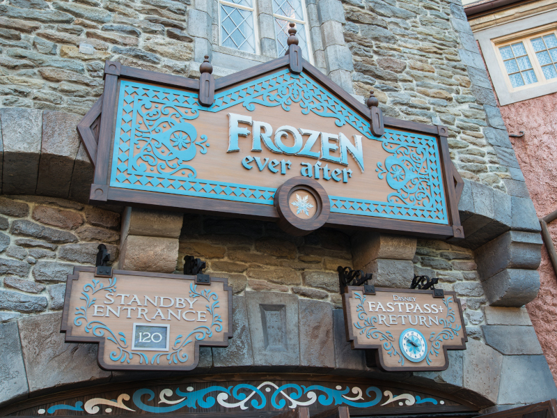 The front entrance of Frozen Ever After at EPCOT