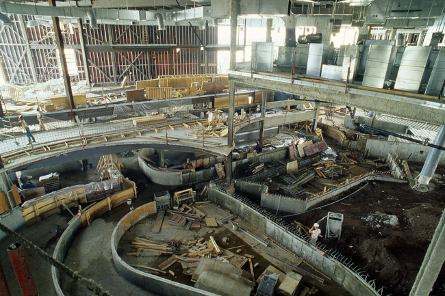 Maelstrom under construction at EPCOT in the eighties