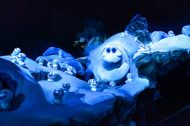 A snow golem from Frozen Ever After at EPCOT