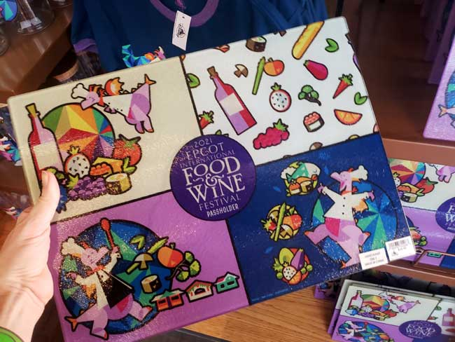 2021-EPCOT-Food-and-Wine-Festival_Merch_Passholder-Figment-Glass-Cheese-Board_Blanken