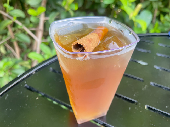 cheapest cocktail at 2021 EPCOT Food and Wine - Spiced Apple Twinings of London Chai Tea with Whiskey