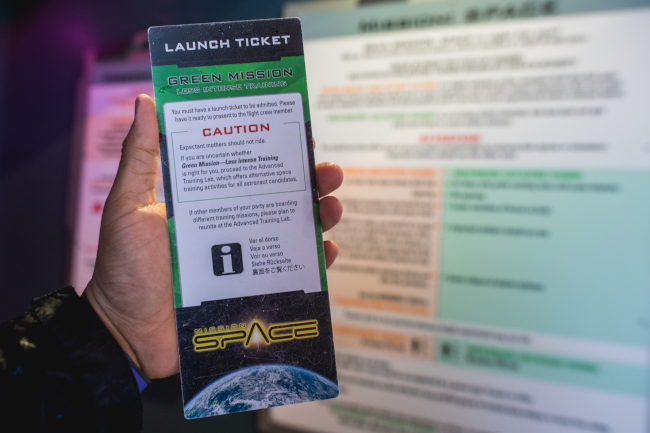 A green mission card for Mission: SPACE