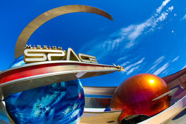 The front entrance to Mission: SPACE at EPCOT