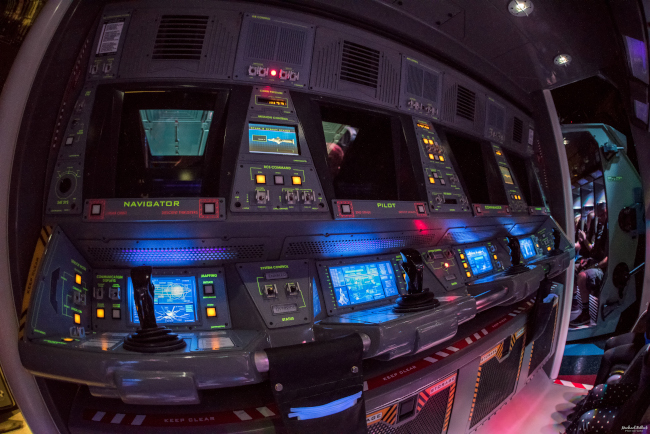 Inside a flight capsule at Mission: SPACE