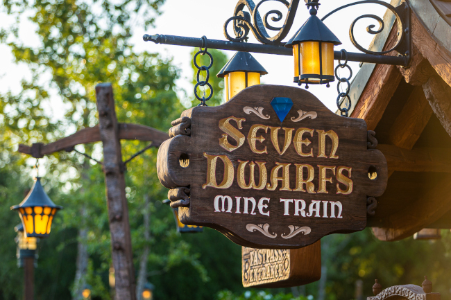 Entrance sign for the Seven Dwarfs Mine Train at Disney's Magic Kingdom