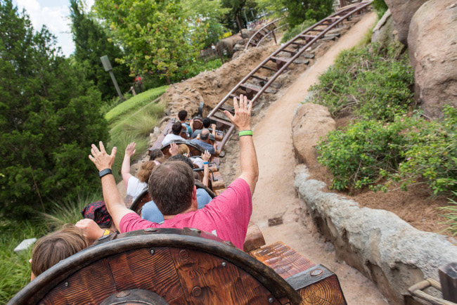 On-ride point of view from the Seven Dwarfs Mine Train