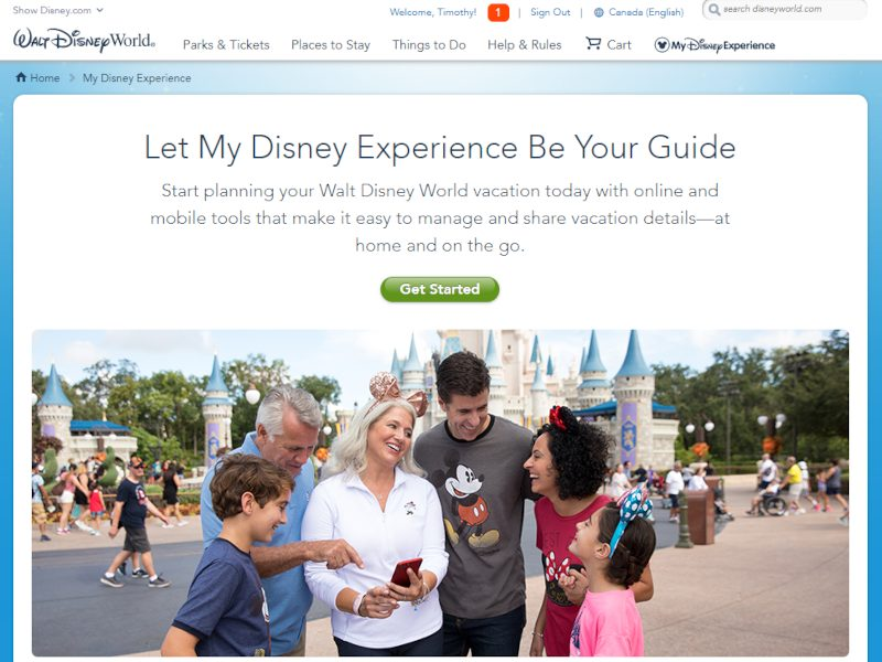 My Disney Experience app guide - home page