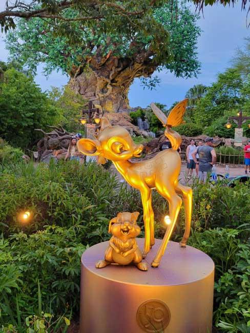 Animal Kingdom Golden Statues Bambi Gold Statue Disney World 50th Anniversary_Lazar