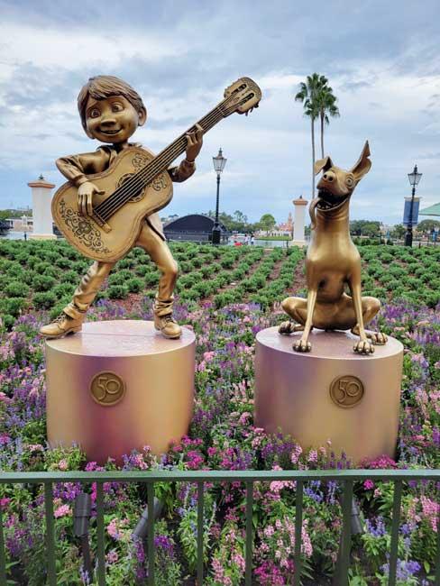 EPCOT Golden Statues Coco Gold Statue Disney World 50th Anniversary_Lazar