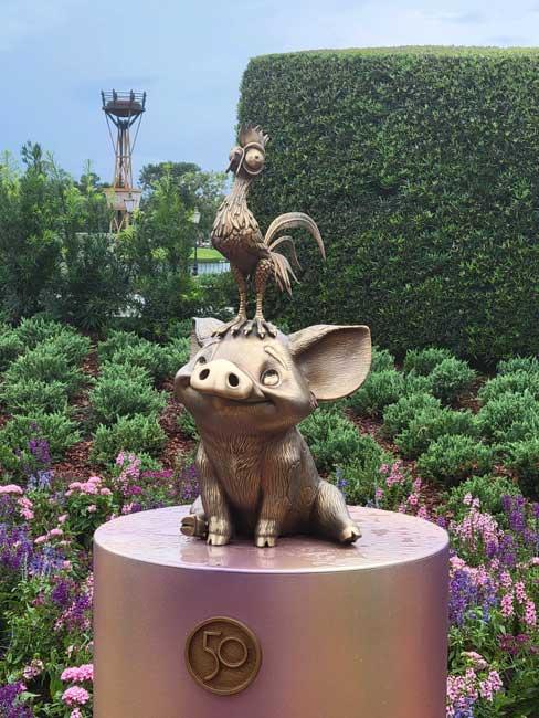 EPCOT Golden Statues Heihei Pua Gold Statue Disney World 50th Anniversary_Lazar