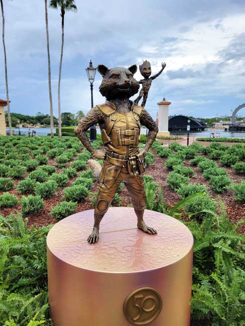 EPCOT Golden Statues Rocket Raccoon Gold Statue Disney World 50th Anniversary_Lazar