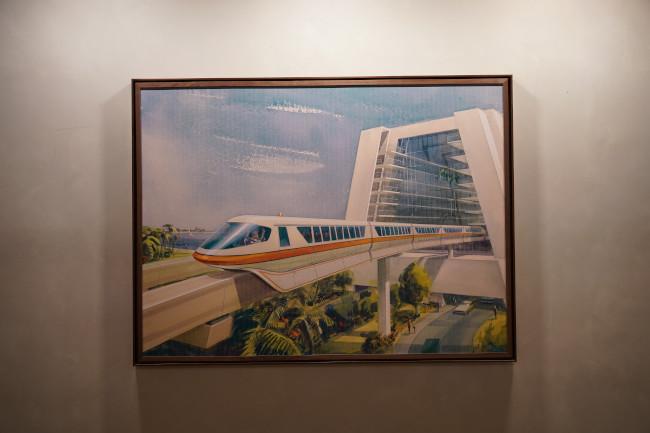 monorail steakhouse 71 interior artwork