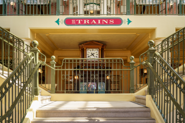 Stairs leading up to the train terminal for Walt Disney World Rail Road