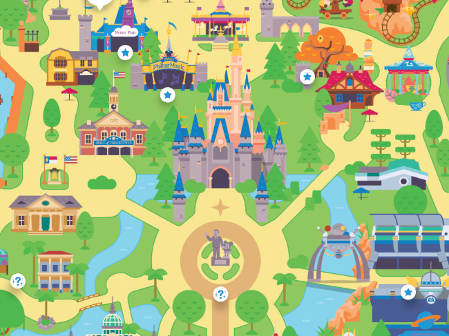 Map of the Magic Kingdom from the Play Disney Parks app
