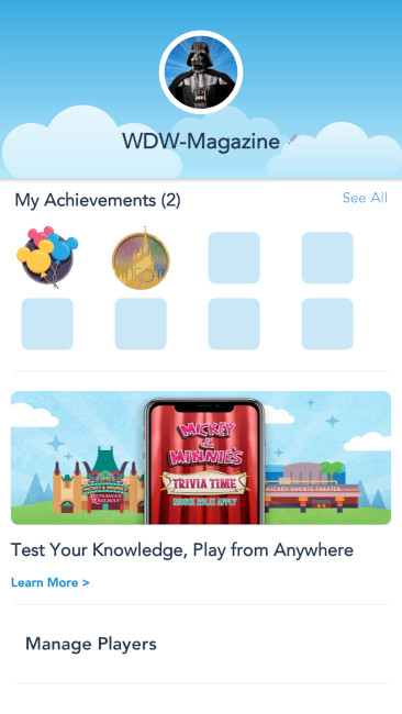 Check your achievements at any time in the Play Disney Parks app