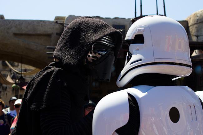 Kylo Ren interrogates a Stormtrooper at Galaxy's Edge at Disneyland Resort