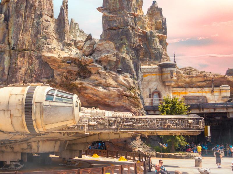 The exterior of Smuggler's Run at Galaxy's Edge at Disneyland