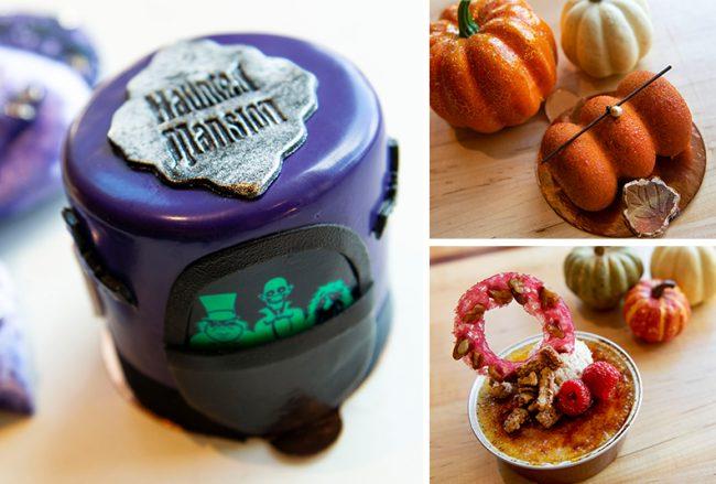 2021-disney-spriangs-halloween-snacks-and-sips-amorettes-patisserie-haunted-mansion-petit-cake-pumpkin-pecan-cheesecake-roll-pumpkin-creme-brulee_disney-parks-blog