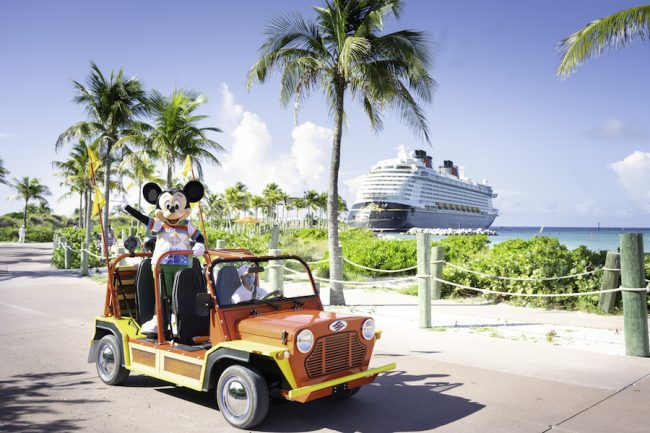 mickey-in-jeep-with-ship-in-background-castaway-cay-disney-cruise-entertainment-dream-wish_disney-parks-blog