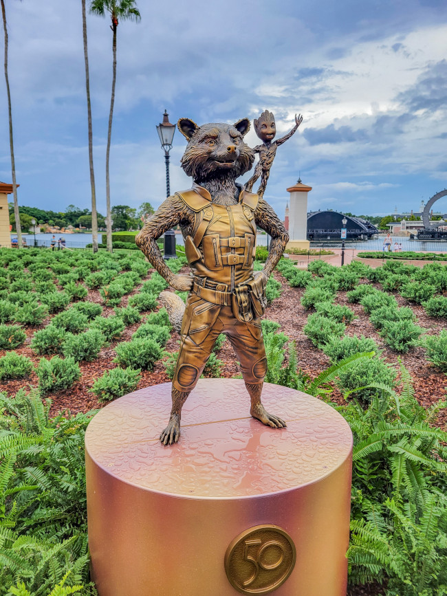 rocket-raccoon-and-baby-groot_where-to-find-disney-fab-50-statues-in-epcot_lazar